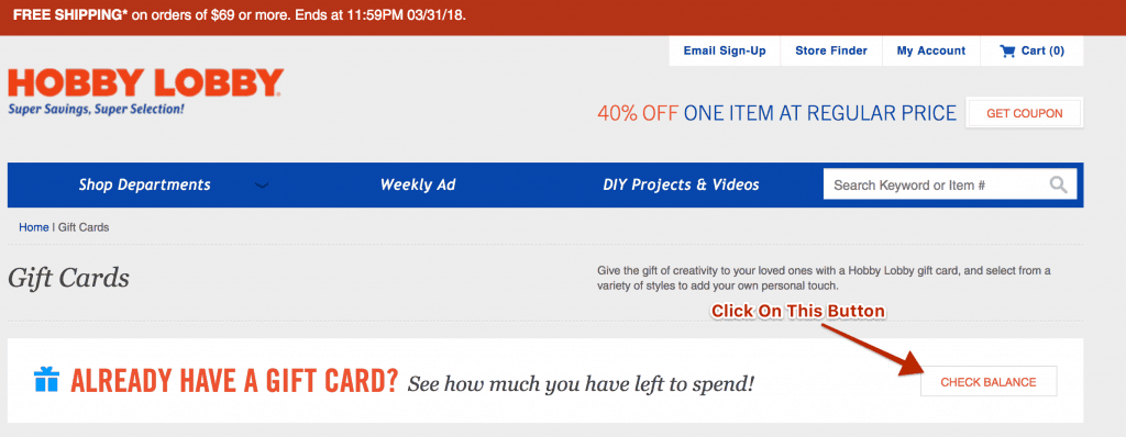 Check Hobby Lobby gift card balance online