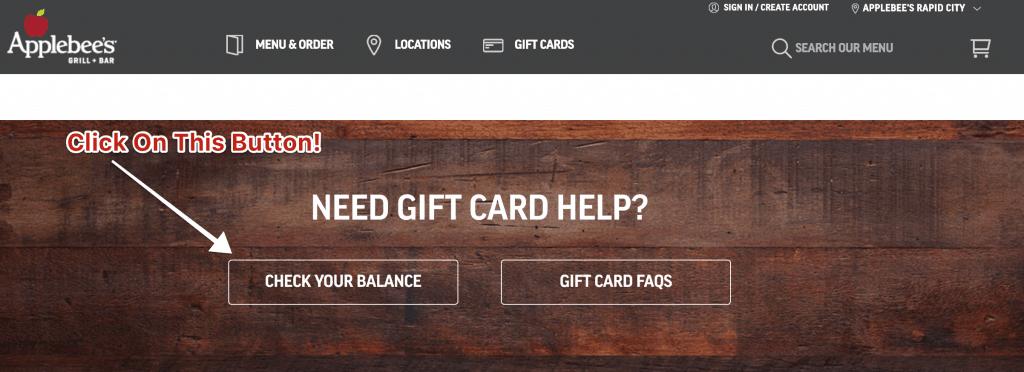 Check applebees gift card balance online