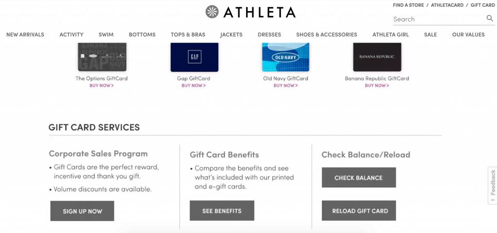 Check Athleta gift card balance