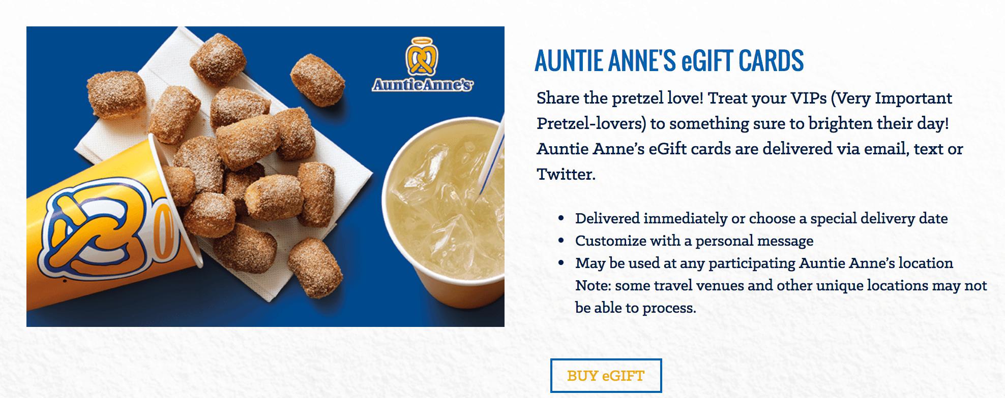 Auntie Anne's gift card service