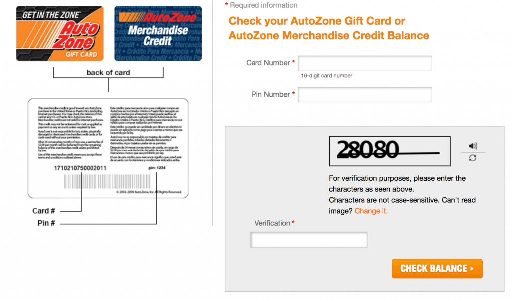 How to check Autozone gift card balance