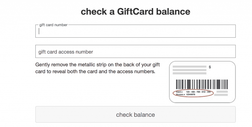 Target gift card balance check online