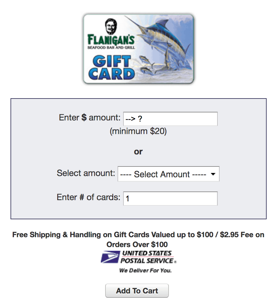 flanigan's gift card order