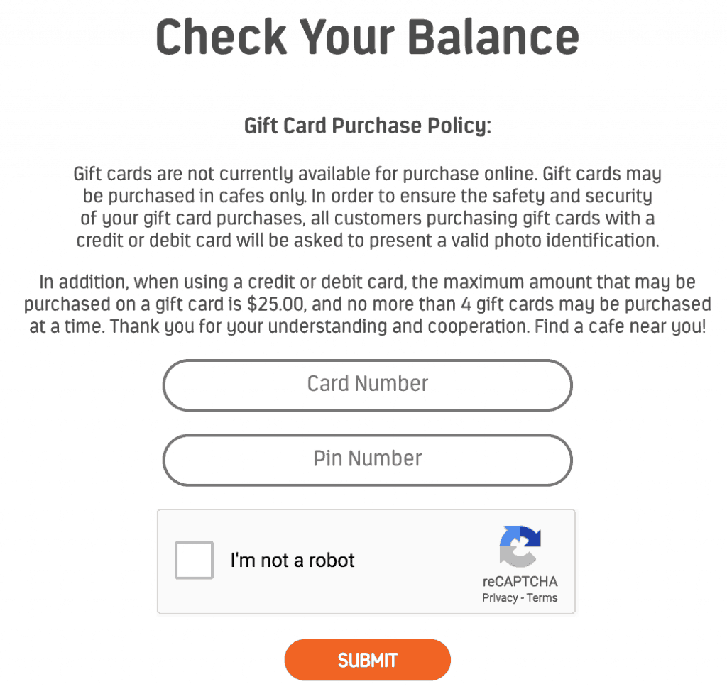 how to access tropical smoothie gift card balance